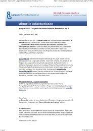 Lungeninfo: August 2011 Lungeninformationsdienst Newsletter Nr. 2