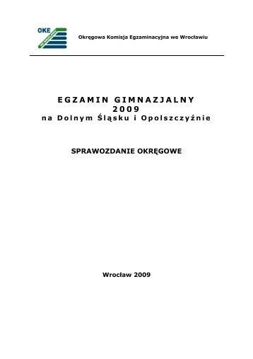 Raport z egzaminu gimnazjalnego 2009 - Okręgowa Komisja ...