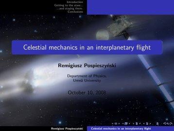 Celestial mechanics in an interplanetary flight