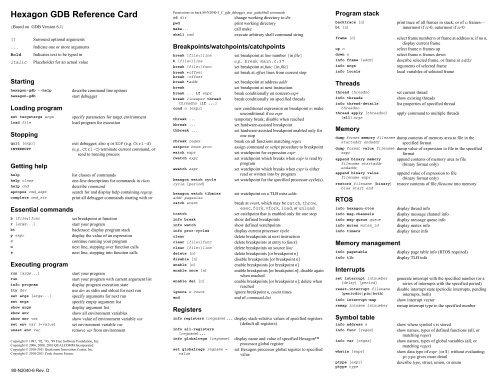 Hexagon GDB Reference Card - Code Aurora Forum
