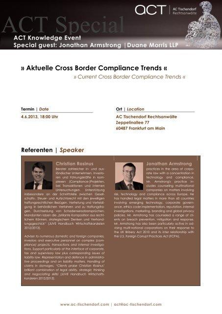 04.06.2013 Frankfurt/M Aktuelle Cross Border Compliance Trends ...