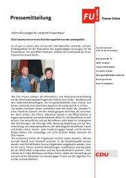 Pressemitteilung - CDU Kreisverband Steinfurt