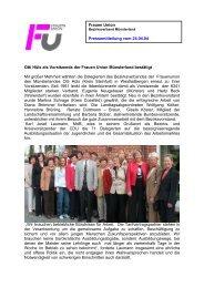 Frauen Union Pressemitteilung vom 24.04.04 Otti Hüls als ...