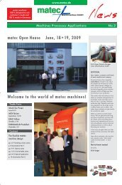 Welcome to the world of matec machines! matec Open House June ...
