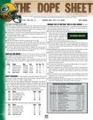 Dope Sheet Week 6 (bye):Dope Sheet preseason Week 2 ... - Packers