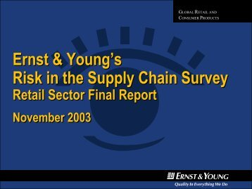 Ernst & Young's Risk in the Supply Chain Survey Ernst & Young's ...