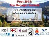 Post 2015: The Bellagio Summit - How we got here - Mukesh Kapila