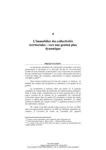 Rapport public annuel 2013, tome I, L ... - Cour des comptes