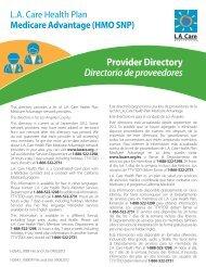 Provider Directory Directorio de proveedores - LA Care Health Plan