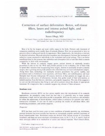 Correction of Surface deformities: Botox, soft-tissue ... - makro-med