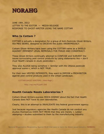 Cottam Ghost-Writers — 2012 06 19 — Letter to ... - Pesticide Truths