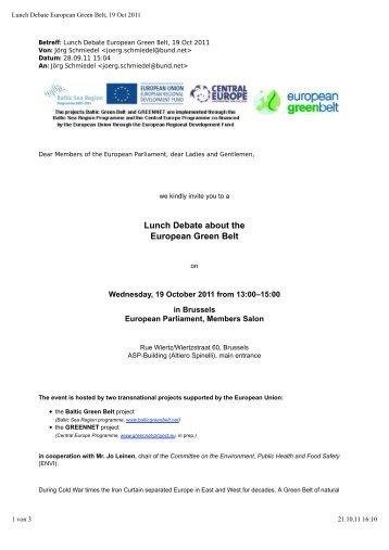 Lunch Debate about the European Green Belt - Baltic Green Belt