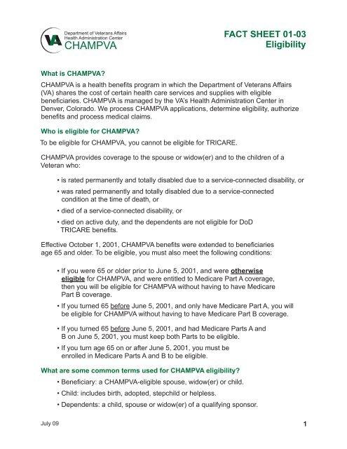 VA Fact Sheet 01-03: Eligibility - VFW Department of