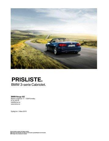 E93 - 3-serie Cabriolet 03_2010 Veiledende prisliste PDF ... - BMW