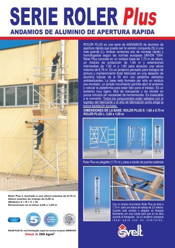 Ficha técnica andamio de aluminio Roler Plus - Logismarket