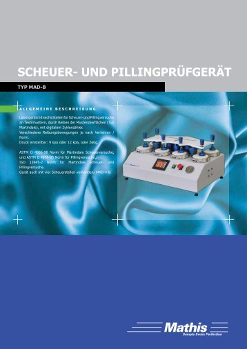 Scheuer- und PillingPrüfgerät - Mathis AG