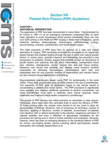 Guidelines for the Use of Platelet Rich Plasma - International ...