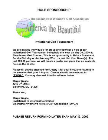 Schedule Registration Form Welcome Hole Sponsor Information