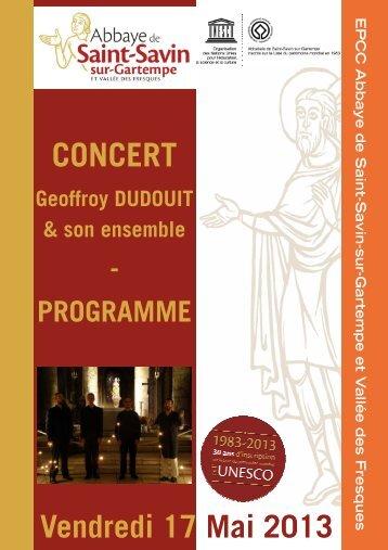 Programme concert soirée bénédictine - Poitiers