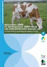résultats 2008 et estimations 2009 pour les exploitations bovins lait