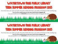 Watertown Free Public Library Teen Summer Reading Program ...