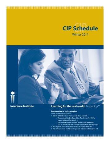 CIP Schedule - Insurance Institute of Canada