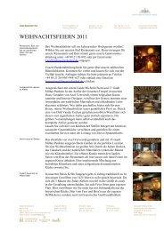 WEIHNACHTSFEIERN 2011 - München Locations