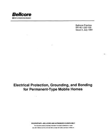 Electrical Protection, Grounding, and Bonding for Permanent-Type ...