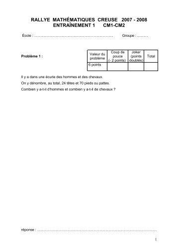 rallye mathématiques creuse 2007 - 2008 entraînement 1 cm1-cm2