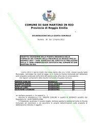 COMUNE DI SAN MARTINO IN RIO Provincia di Reggio Emilia