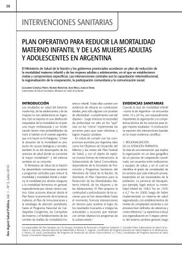 Plan operativo para reducir la mortalidad materno infantil y de las ...
