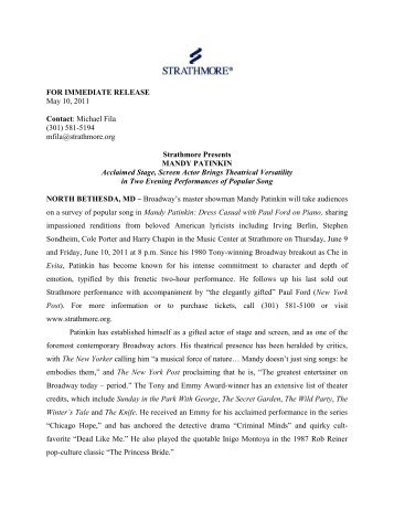FOR IMMEDIATE RELEASE May 10, 2011 Contact ... - Strathmore