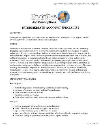 INTERMEDIATE ACCOUNT SPECIALIST - EUSD