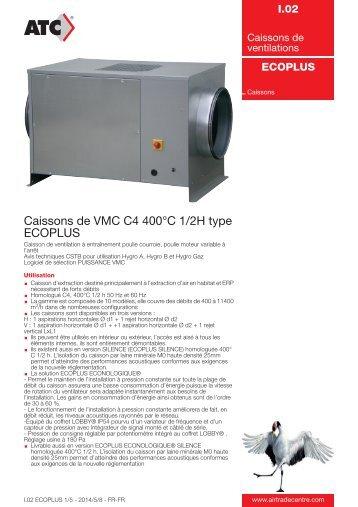 Caissons de VMC C4 400°C 1/2H type ECOPLUS - Air Trade Centre