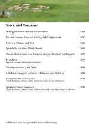 Snacks und Vorspeisen - Mainzer Golfclub