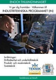 Broschyr om Industritekniska programmet och dess samarbetsföretag.