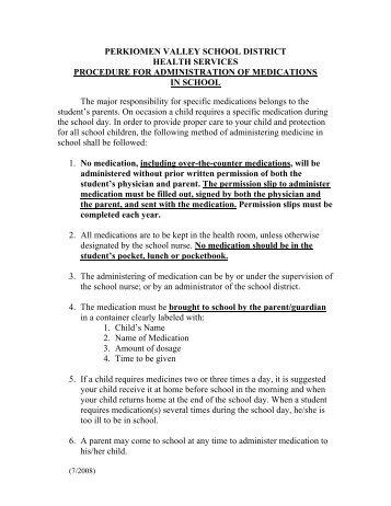 Student Medication Procedure and Medication Permission Form