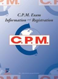C.P.M Exam Information and Registration Brochure - Institute for ...