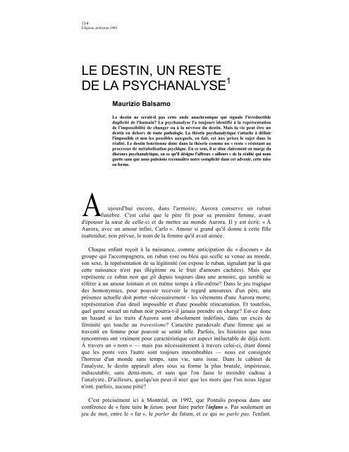 LE DESTIN, UN RESTE DE LA PSYCHANALYSE