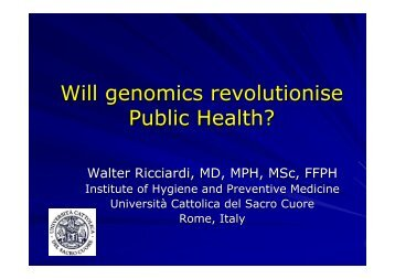 Will genomics revolutionize public health? - PHGEN