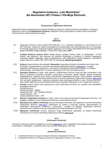 Regulamin konkursu dla Abonentów UPC Polska