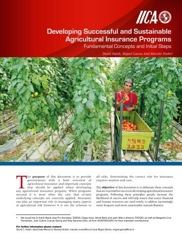 Developing Successful and Sustainable Agricultural Insurance ...