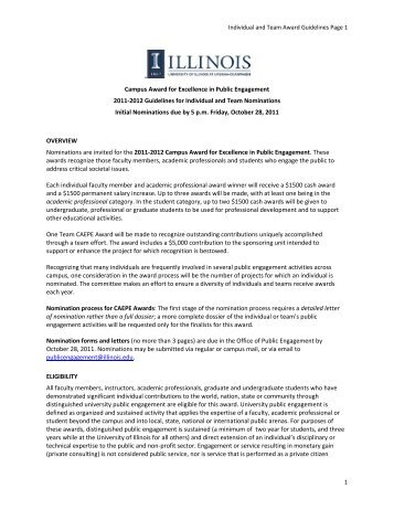 Individual and Team Award Guidelines Page 1 1 Campus Award for ...