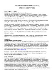 Annual Public Health Conference 2012 SPEAKER BIOGRAPHIES
