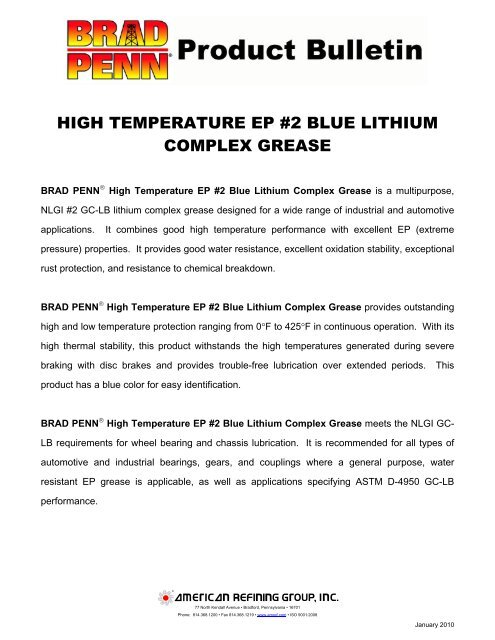 High Temperature EP #2 Blue Lithium Complex Grease – Typical