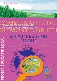 n°36 - juillet 2010 - Communauté de Communes du Mont d'Or & des ...