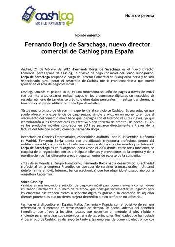 Fernando Borja de Sarachaga, nuevo director comercial de Cashlog ...