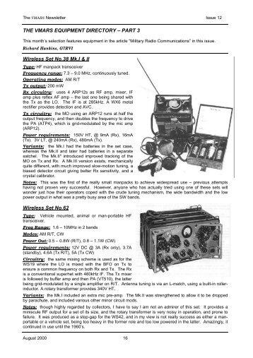 Wireless Set No.38 Mk.I & II - VMARSmanuals