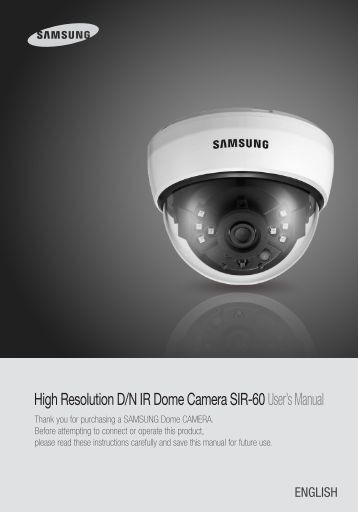 High Resolution D/N IR Dome Camera SIR ... - Samsung CCTV