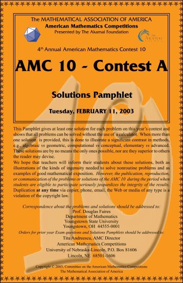 AMC 10 - Contest A Solutions Pamphlet